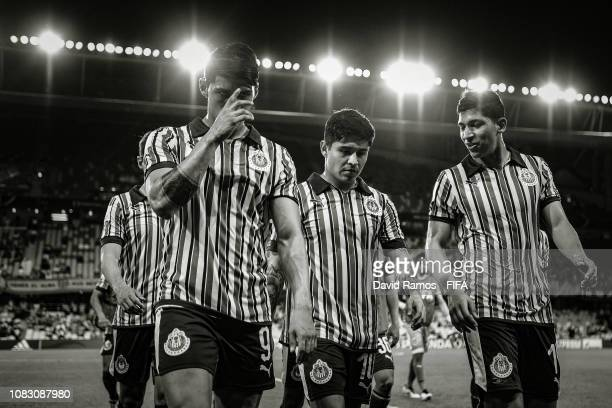 Guadalajara players leaves the pitch after the first half during the FIFA Club World Cup UAE 2018 second round match between Kashima Antlers and CD...