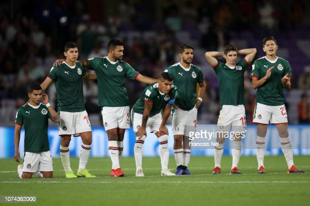 Guadalajara players react during the penalty shoot out during the FIFA Club World Cup UAE 2018 5th Place Match between ES Tunis and CD Guadalajara at...