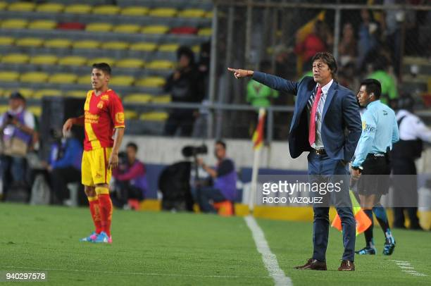 Guadalajara's coach Matias Almeyda gives instructions during their Mexican Clausura tournament football match aginst Morelia at the Morelos stadium...