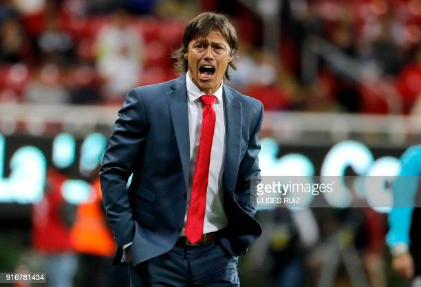 Guadalajara´s coach Matias Almeyda reacts in a match against Santos during their Mexican Clausura 2018 tournament football match at the Akron stadium...