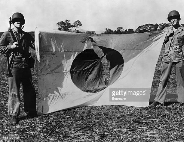 Guadalcanal Solomon Islands A Japanese flag captured in action Guadalcanal Solomon Islands Undated photograph