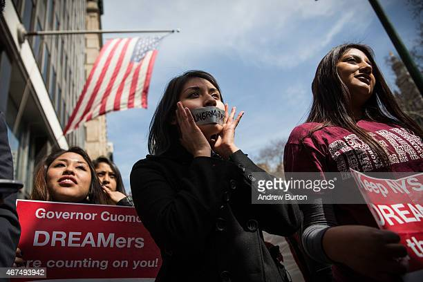 Guadalepe Muller participates in a protest announcing immigration activists' intent to go on a hunger strike on March 25 2015 in New York City...