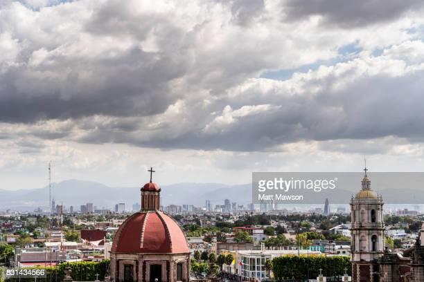 guadalupe basilica church and mexico city skyline from tepeyac hill - festival de la virgen de guadalupe fotografías e imágenes de stock