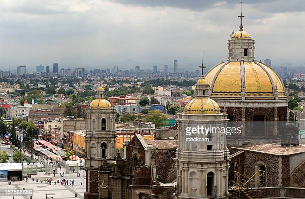 guadalupe basilica church and mexico city skyline - basilica of our lady of guadalupe stock pictures, royalty-free photos & images