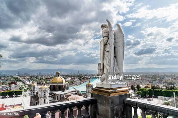 guadalupe basilica church and mexico city skyline - festival de la virgen de guadalupe fotografías e imágenes de stock