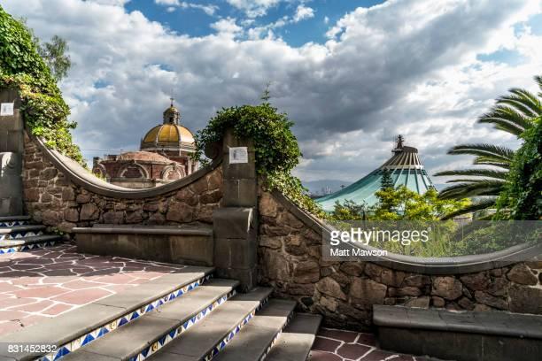 guadalupe basilica church seen from tepeyac hill mexico city - festival de la virgen de guadalupe fotografías e imágenes de stock