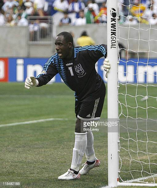 Guadeloupe goalkeeper Franck Grandel directs his players in front of him Guadeloupe defeated Honduras 21in quarter final action at the CONCACAF 2007...