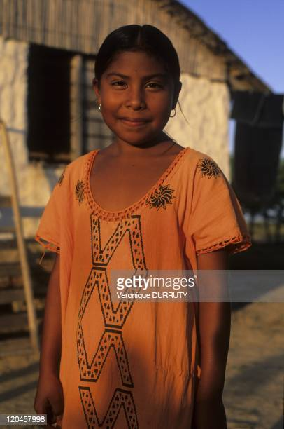 Guajira Native Child Wearing the Traditional Dress Cabo de la Vela in Guajira Colombia The Guajiro who form a community of about one hundred thousand...