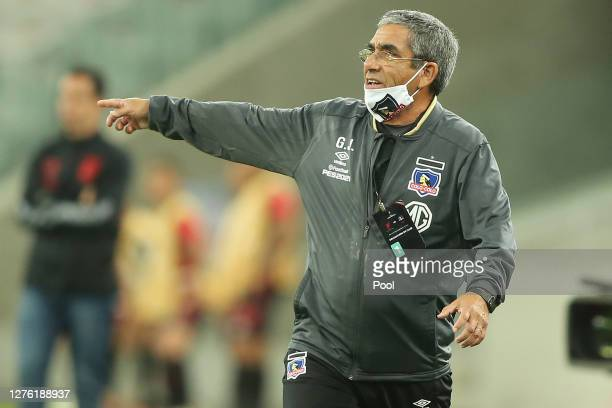 Gualberto Jara coach of ColoColo looks on during a group C match of Copa CONMEBOL Libertadores 2020 between Athletico Paranaense and ColoColo at...