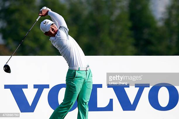 Guan Tianlang of China plays a shot during the pro-am prior to the start of the Volvo China Open at Tomson Shanghai Pudong Golf Club on April 22,...