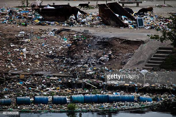 Guanabara bay pollution large amount of garbage at the mouth of Timbo river where it meets the waters of Guanabara Bay beside Favela da Mare the...