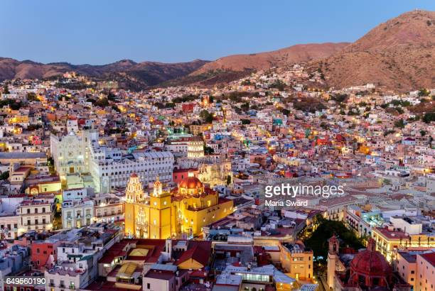 guanajuato city - aerial view at twilight - guanajuato stock pictures, royalty-free photos & images