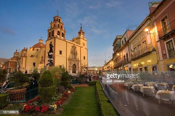 guanajuato plaza and cathedral at dusk - guanajuato stock pictures, royalty-free photos & images