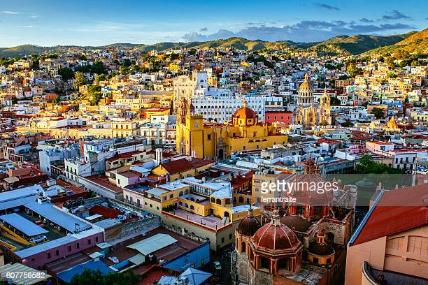 guanajuato skyline aerial view mexico - guanajuato stock pictures, royalty-free photos & images