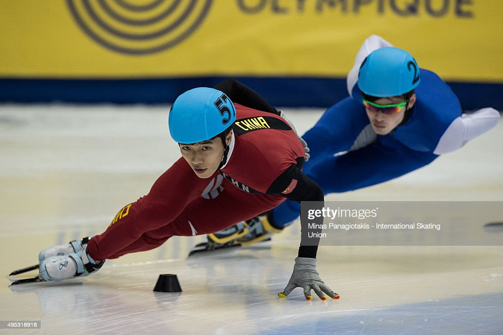 Guang Chen of China competes on Day 2 of the ISU World Cup Short Track Speed Skating competition at Maurice-Richard Arena on November 1, 2015 in Montreal, Quebec, Canada.