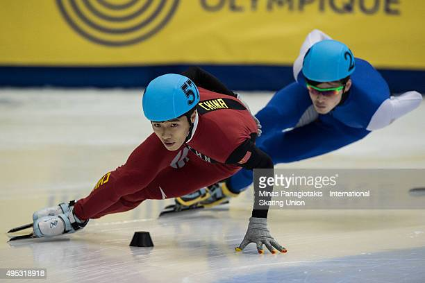 Guang Chen of China competes on Day 2 of the ISU World Cup Short Track Speed Skating competition at MauriceRichard Arena on November 1 2015 in...
