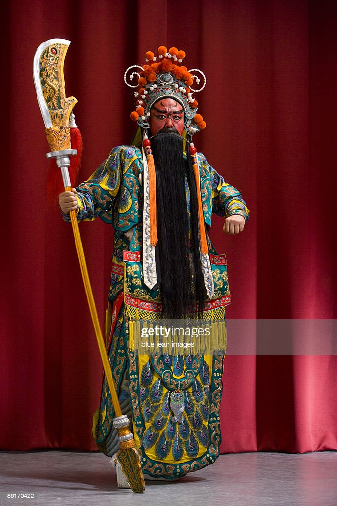 Guang Gong, Ancient Chinese General in Beijing Opera Costume, Represents Protection and Wealth : Stock Photo