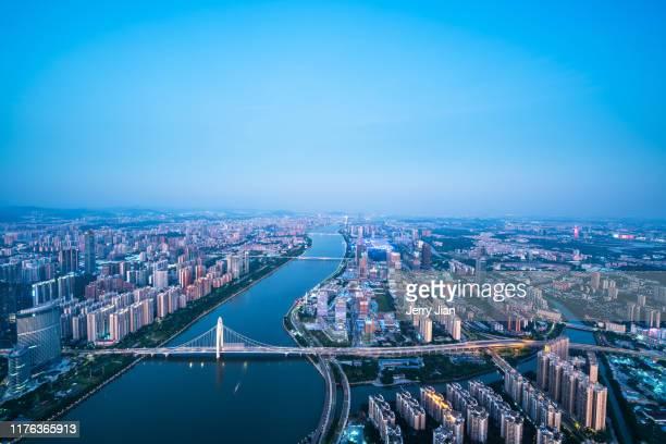 guang zhou city skyline - província de guangdong - fotografias e filmes do acervo