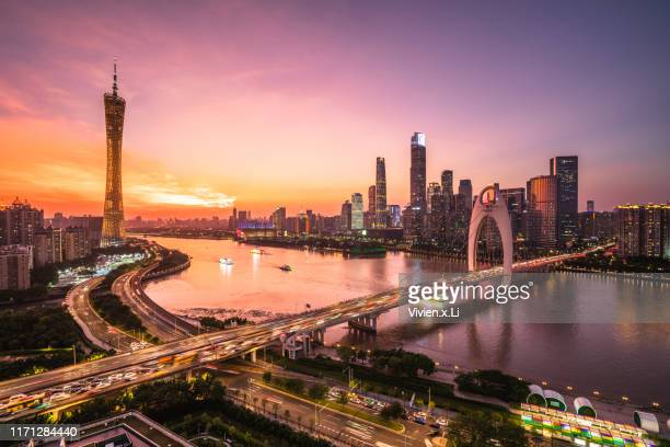 guang zhou cityscape - guangzhou stock pictures, royalty-free photos & images