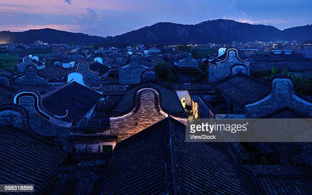 Guangdong county of Fogang province Qingyuan City Yue Village panorama