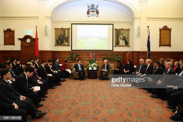 Guangdong Party Secretary Li Xi meets with Auckland Mayor Phil Goff at the Auckland Town Hall on September 11, 2018 in Auckland, New Zealand. Mr Li...
