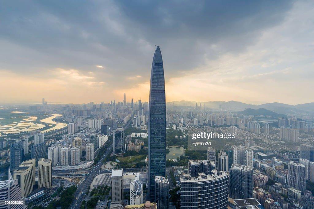 Guangdong province,China,shenzhen cityscape,High Angle View. : Stock Photo