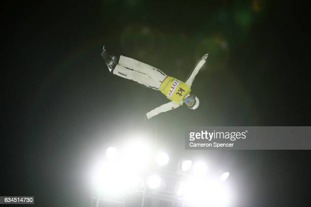 Guangpu Qi of China competes in the FIS Freestyle Ski World Cup 2016/17 Mens Aerials final at Bokwang Snow Park on February 10 2017 in Pyeongchanggun...