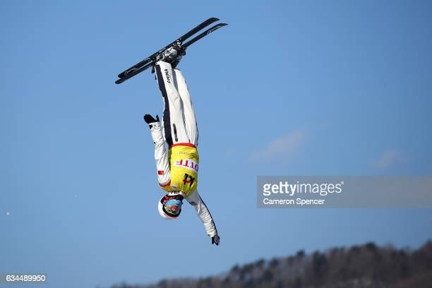 Guangpu Qi of China performs an aerial during qualification in the FIS Freestyle Ski World Cup 2016/17 Mens Aerials at Bokwang Snow Park on February...