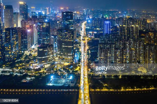 guangzhou cbd nightview - liyao xie stock pictures, royalty-free photos & images
