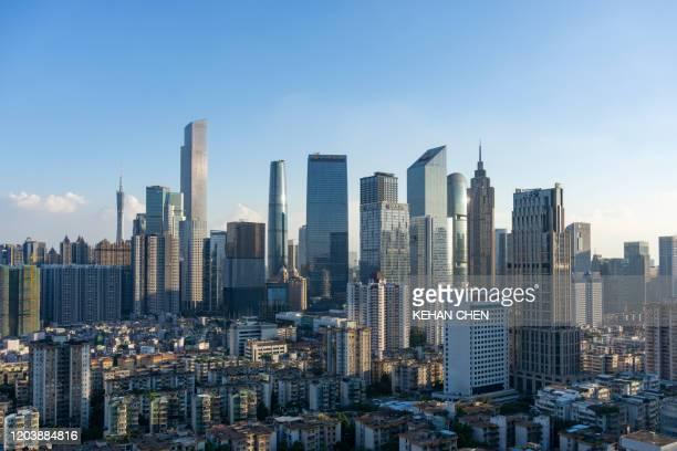 guangzhou city cbd landmark sunset - guangzhou stock pictures, royalty-free photos & images