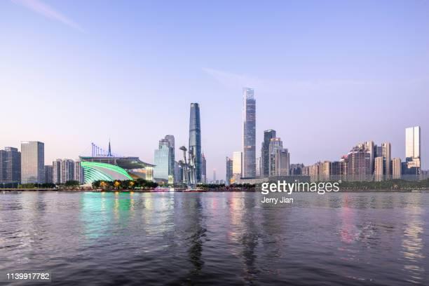 guangzhou city night scene - guangzhou stock-fotos und bilder