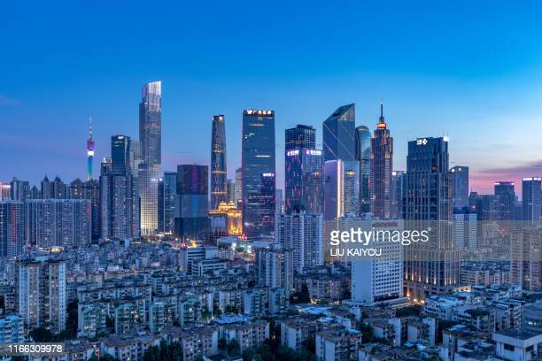guangzhou cityscape at night sunset - guangdong province stock pictures, royalty-free photos & images