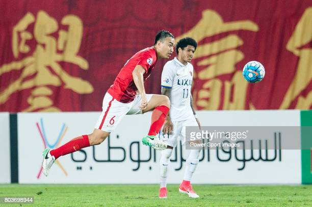 Guangzhou Defender Feng Xiaoting in action during the AFC Champions League 2017 Round of 16 match between Guangzhou Evergrande FC vs Kashima Antlers...