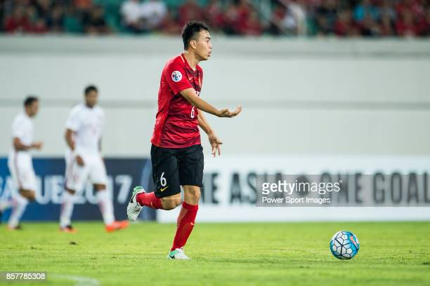 Guangzhou Defender Feng Xiaoting in action during the AFC Champions League 2017 Quarter-Finals match between Guangzhou Evergrande vs Shanghai SIPG at...
