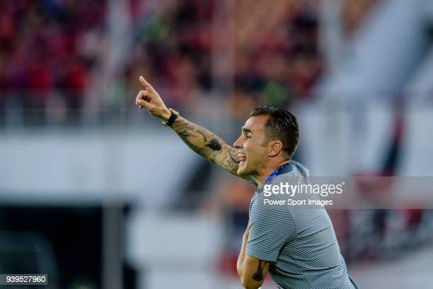 Guangzhou Evergrande Head Coach Fabio Cannavaro gestures during the AFC Champions League 2018 round 1 of Group Stage G match between Guangzhou...