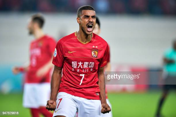 Guangzhou Evergrande's Alan Douglas reacts during the AFC Champions League group stage football match between China's Guangzhou Evergrande and...