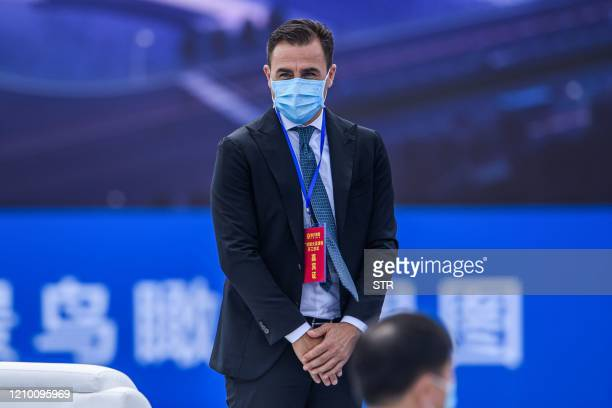 Guangzhou Evergrande's head coach Fabio Cannavaro attends the ground-breaking ceremony of the clubs new stadium in Guangzhou in China's southern...