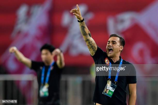 Guangzhou Evergrande's head coach Fabio Cannavaro gestures during the AFC Champions League group stage football match between China's Guangzhou...