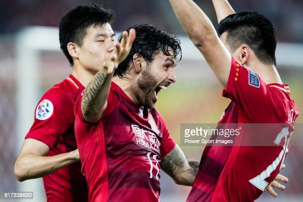 Guangzhou Forward Ricardo Goulart celebrating his score with Guangzhou Forward Gao Lin during the AFC Champions League 2017 Group G match between...