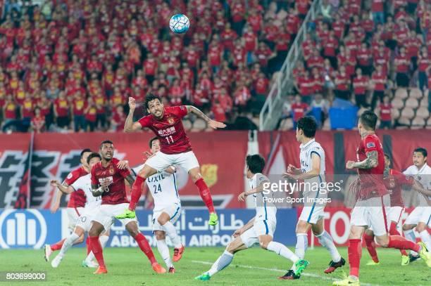 Guangzhou Forward Ricardo Goulart heads the ball during the AFC Champions League 2017 Round of 16 match between Guangzhou Evergrande FC vs Kashima...