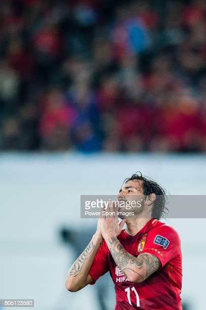 Guangzhou Forward Ricardo Goulart reacts during the AFC Champions League 2017 Group G match between Guangzhou Evergrande FC vs Kawasaki Frontale at...