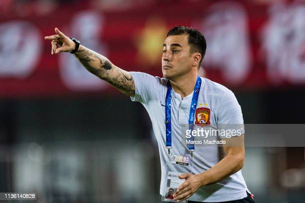 Guangzhou Head Coach Fabio Cannavaro gestures during the Match Day 3 of Asia Champions League Group Stage F, match between Guangzhou Evergrande and...