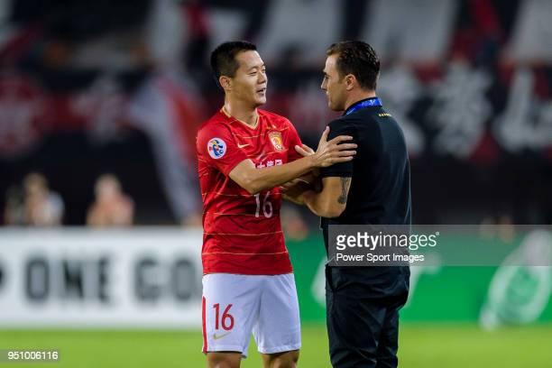 Guangzhou Midfielder Huang Bowen celebrating his goal with Guangzhou Evergrande Head Coach Fabio Cannavaro during the AFC Champions League 2018 Group...
