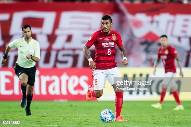 Guangzhou Midfielder Paulinho Maciel in action during the AFC Champions League 2017 Group G match between Guangzhou Evergrande FC vs Kawasaki...