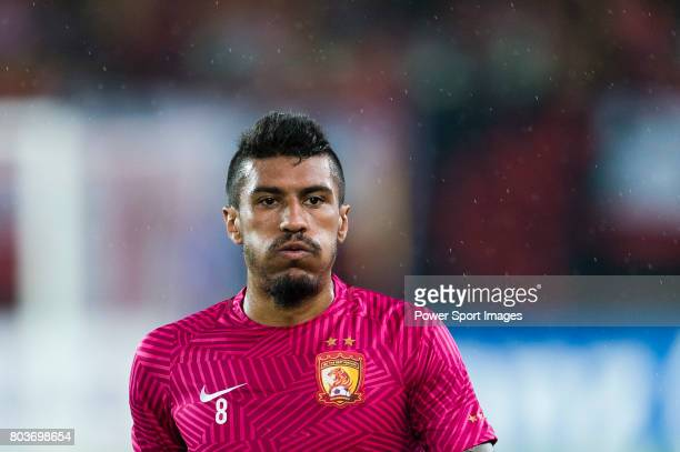 Guangzhou Midfielder Paulinho Maciel on his warming up session during the AFC Champions League 2017 Round of 16 match between Guangzhou Evergrande FC...