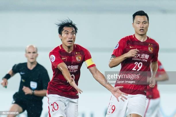 Guangzhou Midfielder Zheng Zhi gestures during the AFC Champions League 2017 Round of 16 match between Guangzhou Evergrande FC vs Kashima Antlers at...