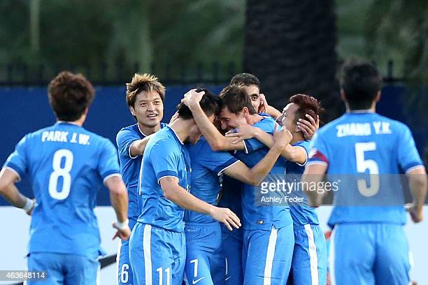 Guangzhou RF celebrate a goal during the Asian Champions League qualifying match between the Central Coast Mariners and Guangzhou at Central Coast...