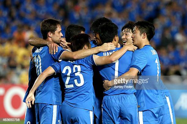 Guangzhou RF celebrate their second goal during the Asian Champions League qualifying match between the Central Coast Mariners and Guangzhou at...