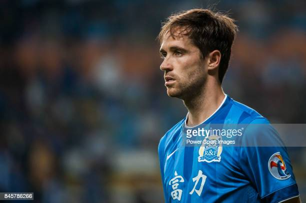 Guangzhou RF midfielder Miguel Javaloyas looks during the 2015 AFC Champions League Group Stage F match between Guangzhou RF and Gamba Osaka on April...