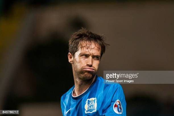 Guangzhou RF midfielder Miguel Javaloyas reacts during the 2015 AFC Champions League Group Stage F match between Guangzhou RF and Gamba Osaka on...
